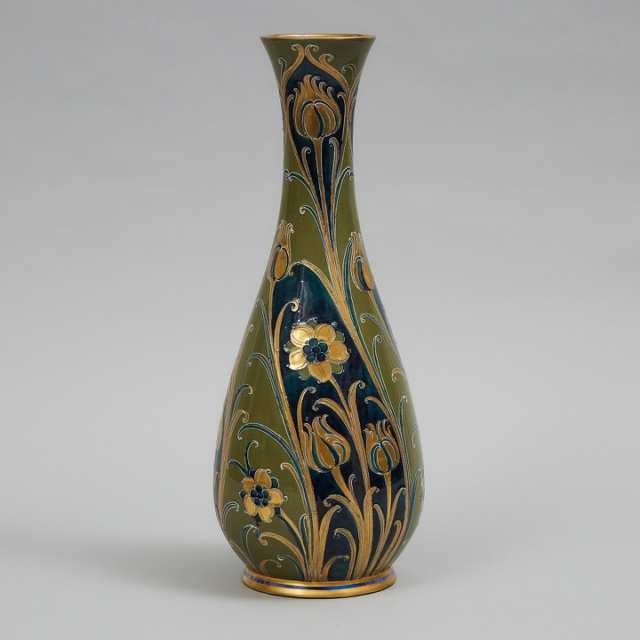 Macintyre Moorcroft Green and Gold Florian Vase, c.1903