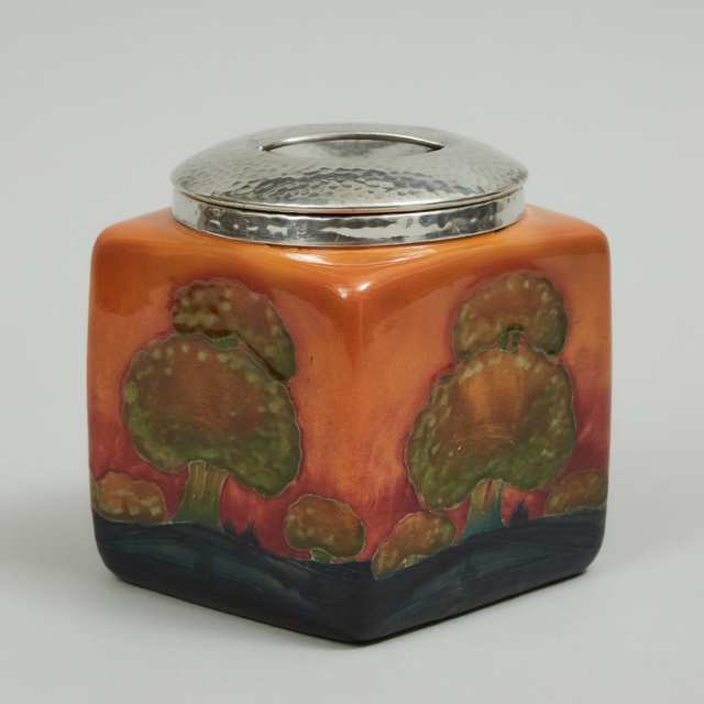 Moorcroft 'Tudric' Pewter Mounted Eventide Jar, c.1925