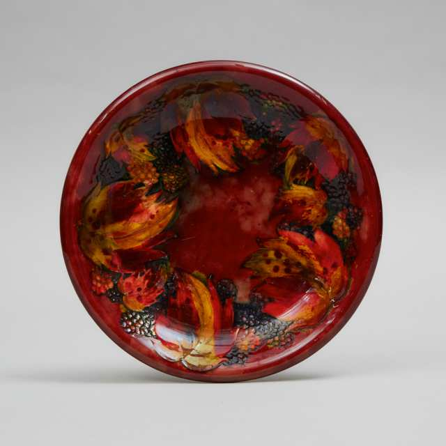 Macintyre Moorcroft Flambé Blackberry and Leaf Plate, 1930s