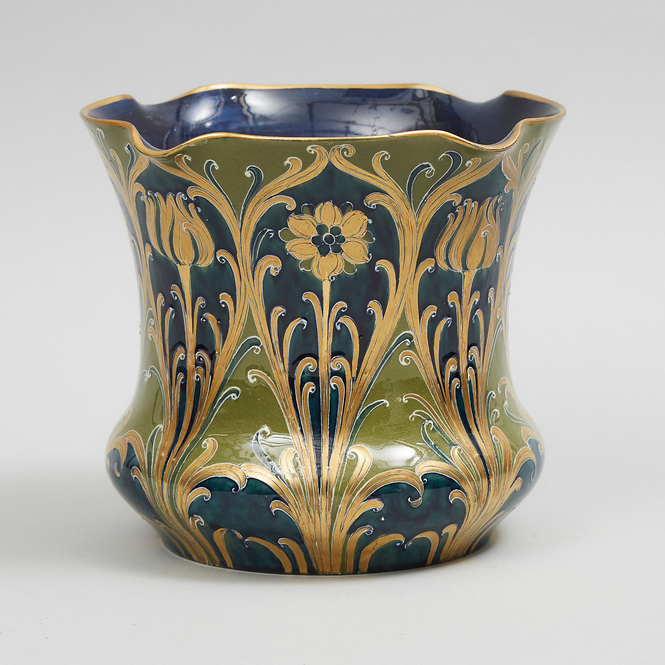 Macintyre Moorcroft Green and Gold Florian Wide-Mouthed Vase, c.1903
