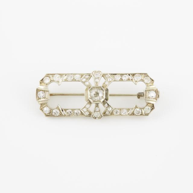 14k White Gold Rectangular Brooch