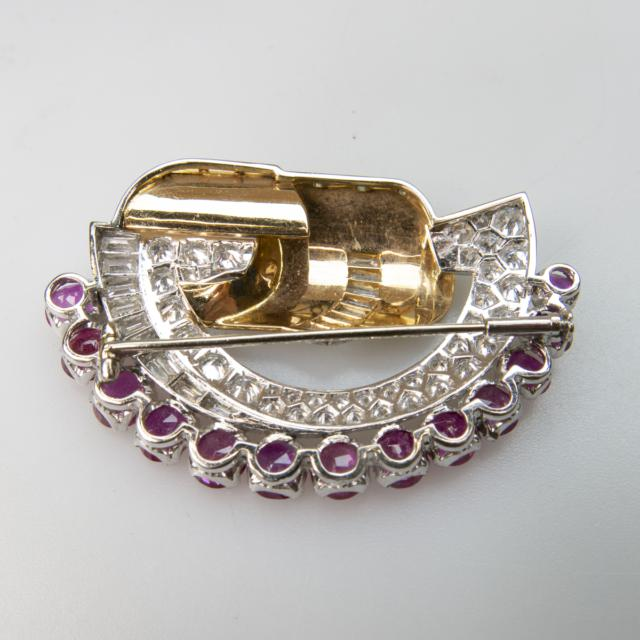 18k Yellow Gold And Platinum Spray Brooch