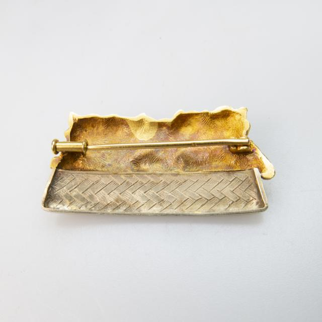 French 18k Yellow And White Gold Brooch