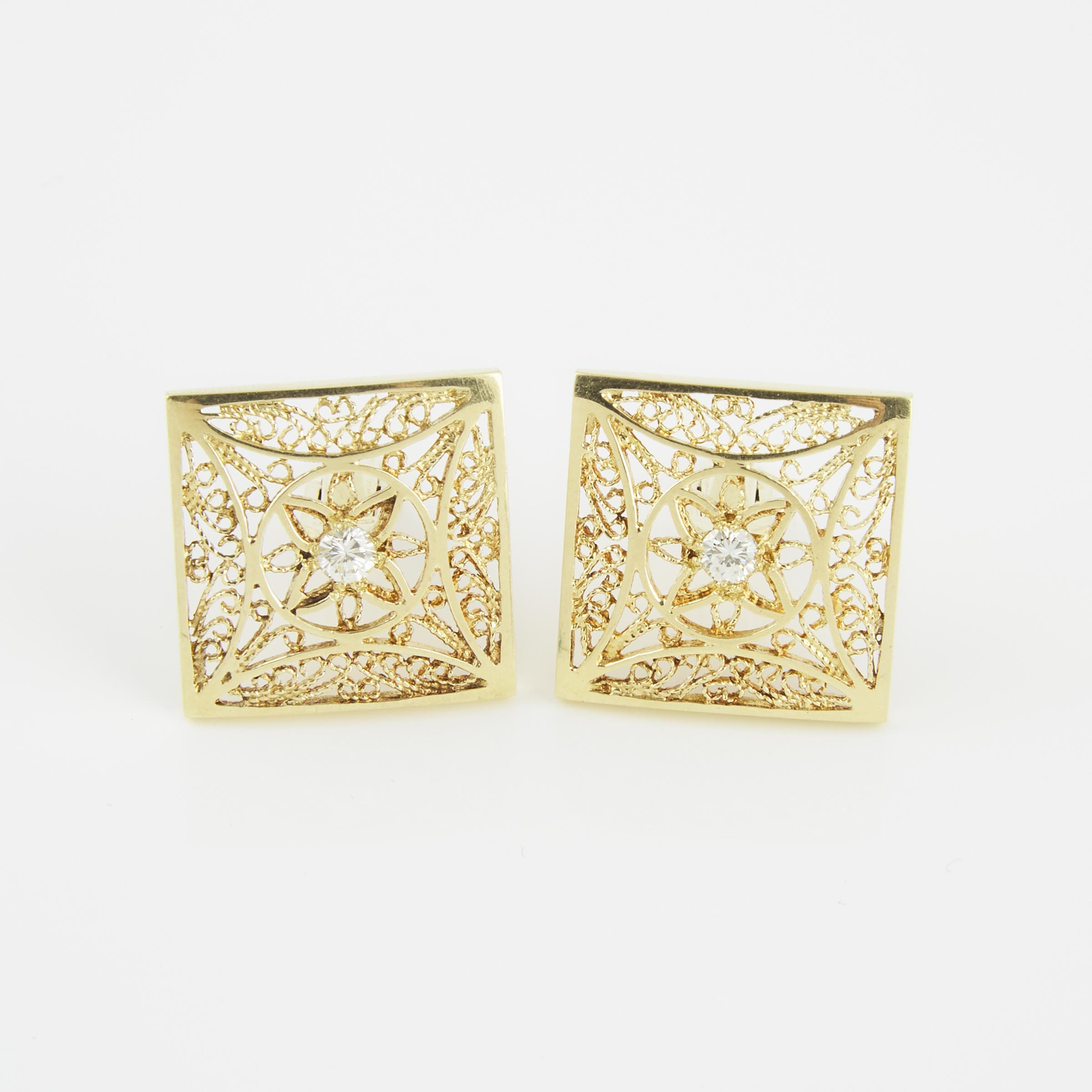 Pair Of Israeli 14k Yellow Gold Filigree Cufflinks
