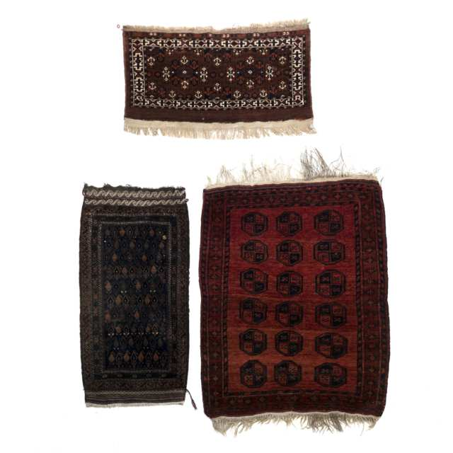 Turkoman Chuval together with a  Baluch Yastik and a Ersari Rug, all Central Asia and mid 20th century