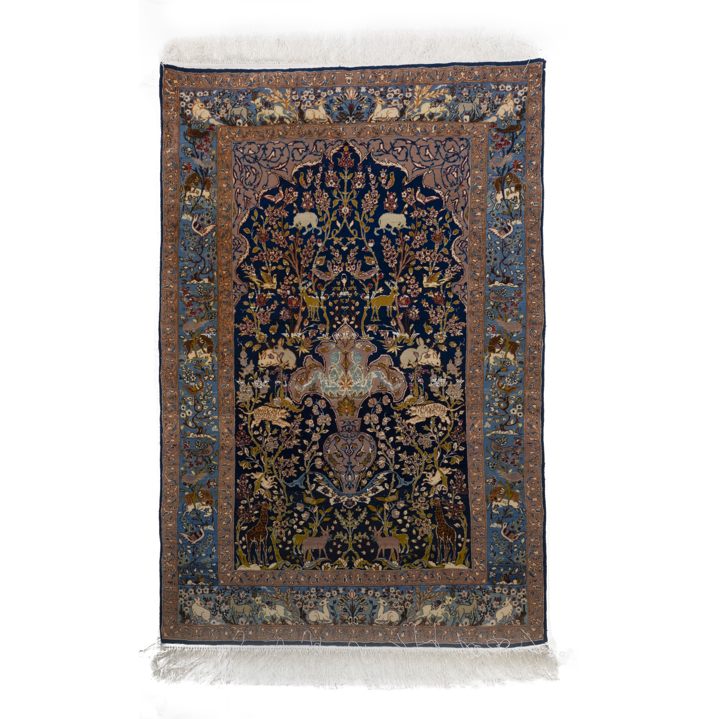 Modern Ispahan Wool and Silk Prayer  Rug, Persian