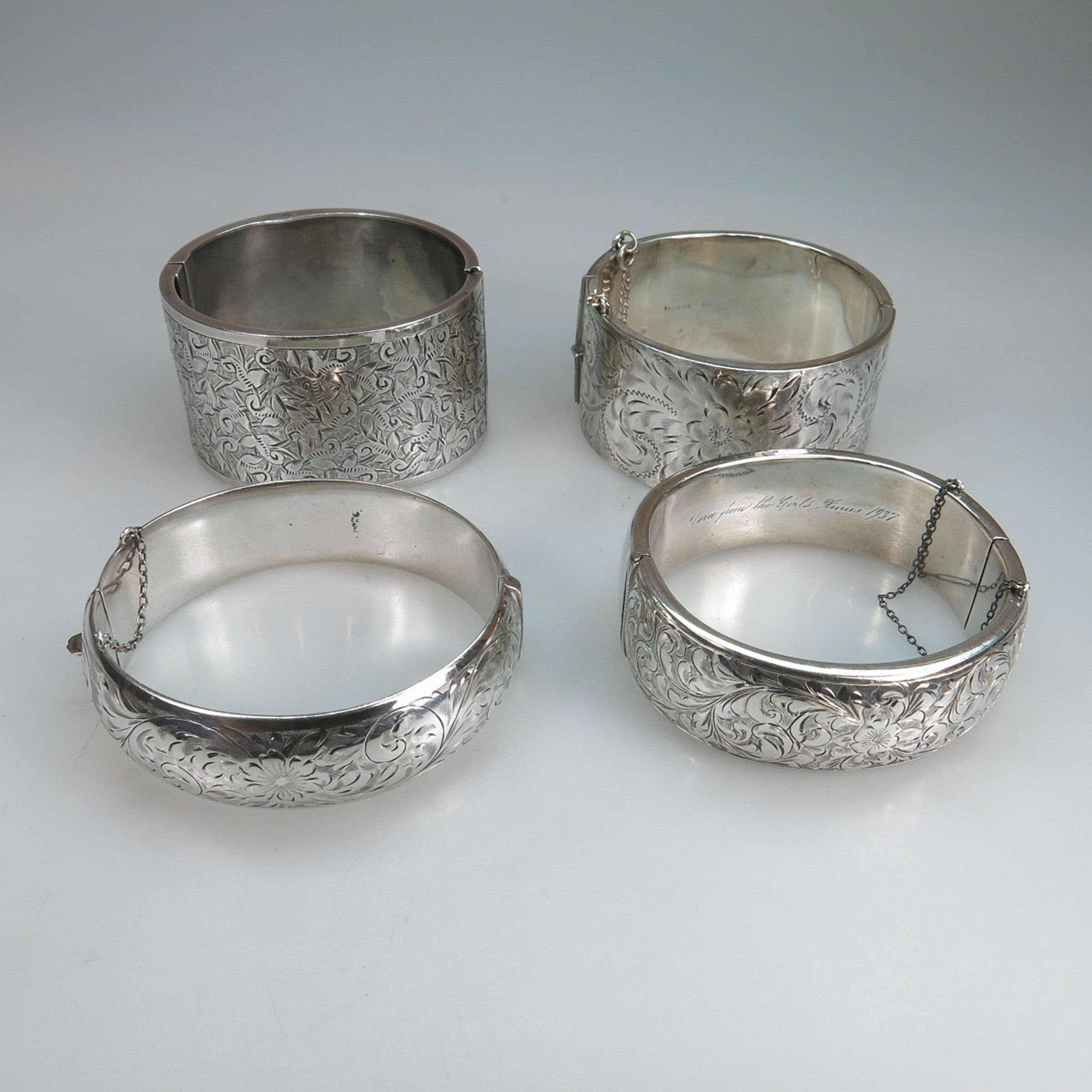 4 Sterling Silver Hinged Bangles
