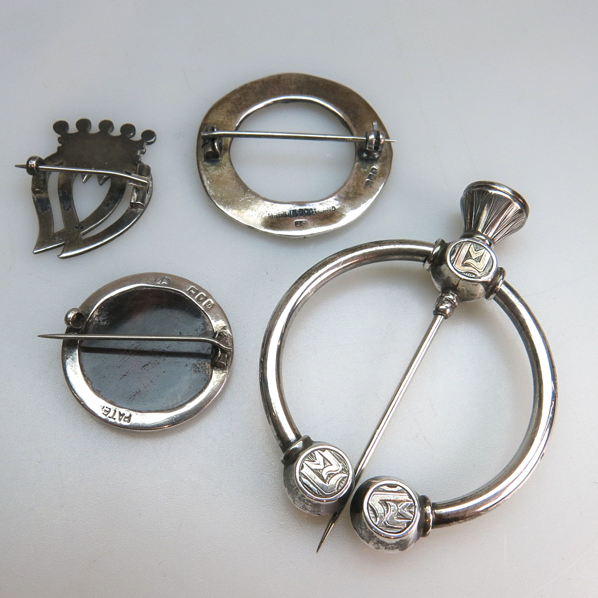 4 Various UK Silver Brooches
