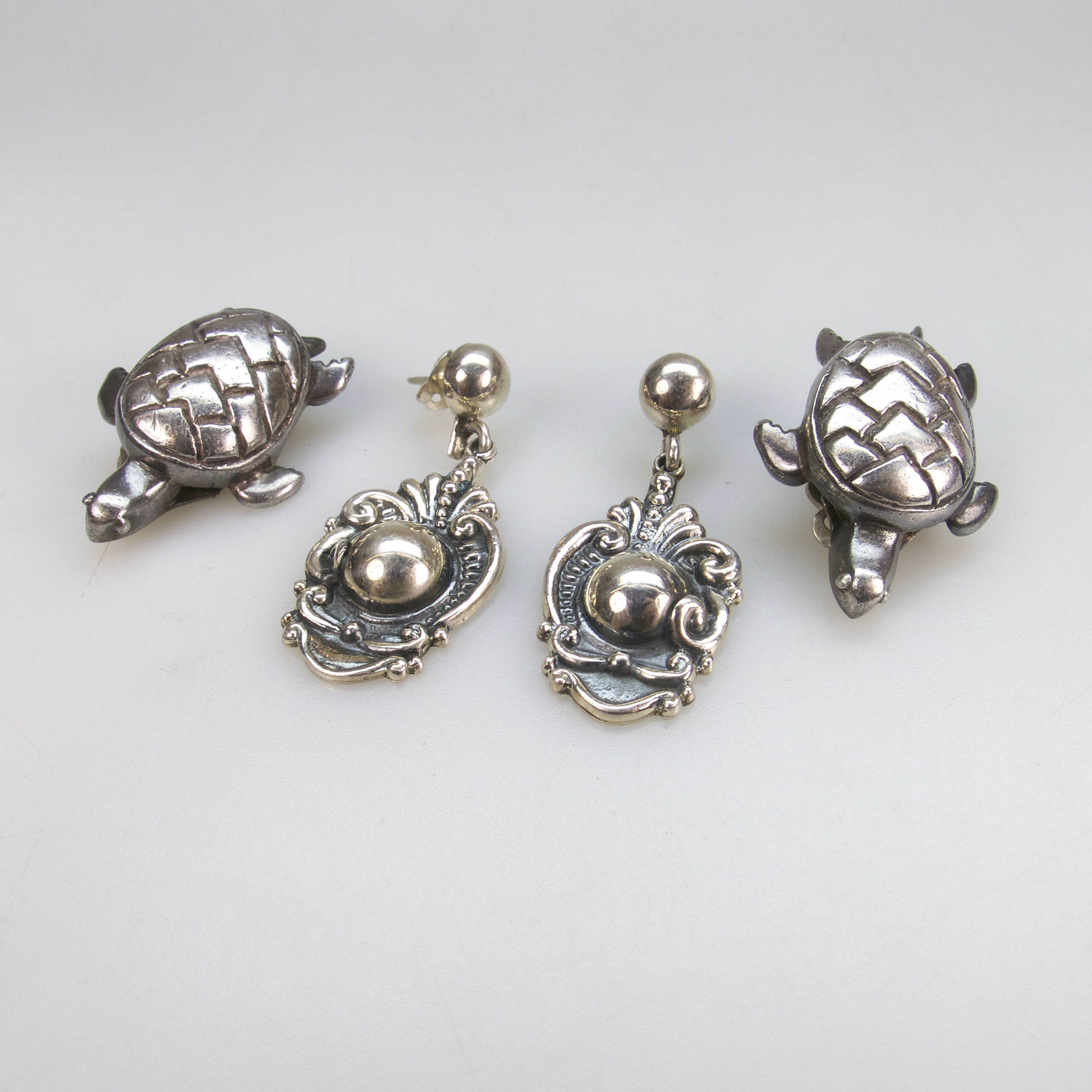 Two Pairs Of Mexican 950 Grade Silver Earrings
