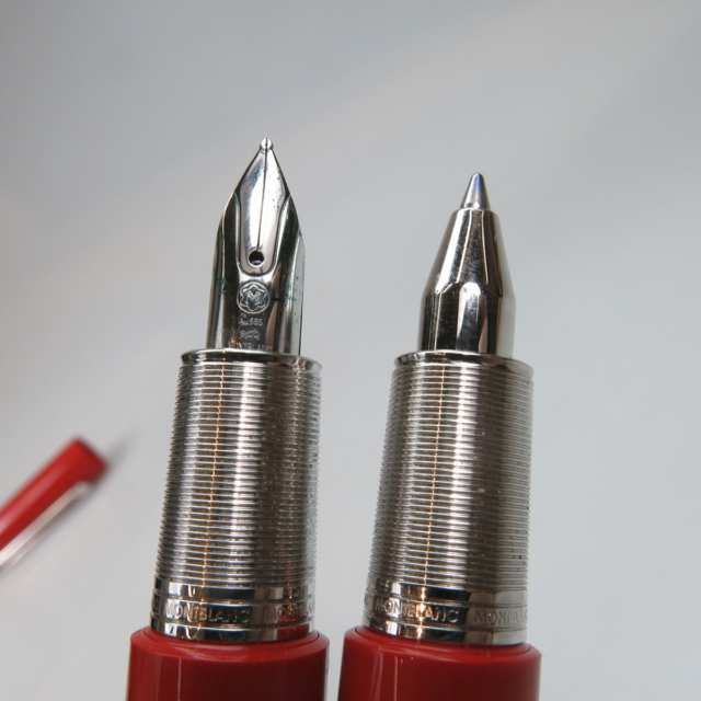 "Montblanc ""(Montblanc) M Red"" Fountain Pen And Rollerball Pen"