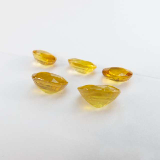 5 Oval Cut Yellow Sapphires