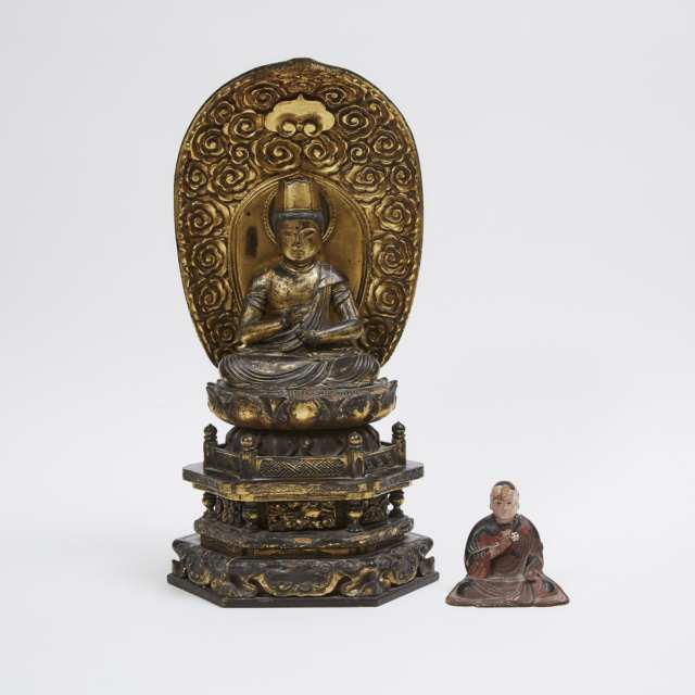 A Japanese Gilt Wood Seated Bosatsu, together with a Wood Carving of a Monk, 18th/19th Century
