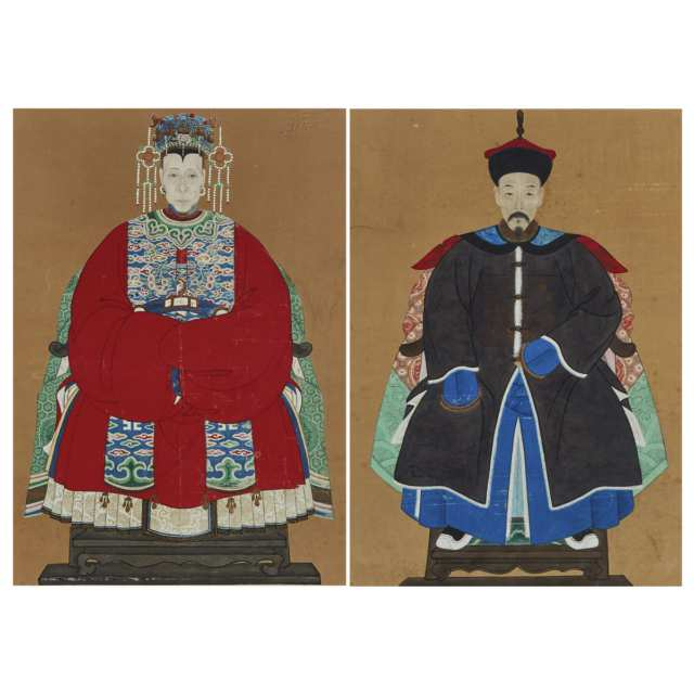 A Pair of Chinese Ancestor Portraits, 19th Century