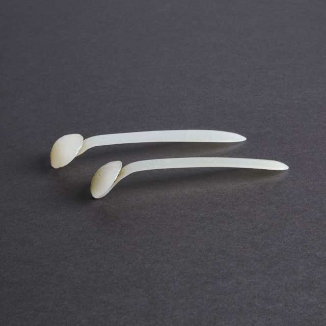 A Pair of Carved White Jade Ruyi-Shaped Hairpins, Qing Dynasty