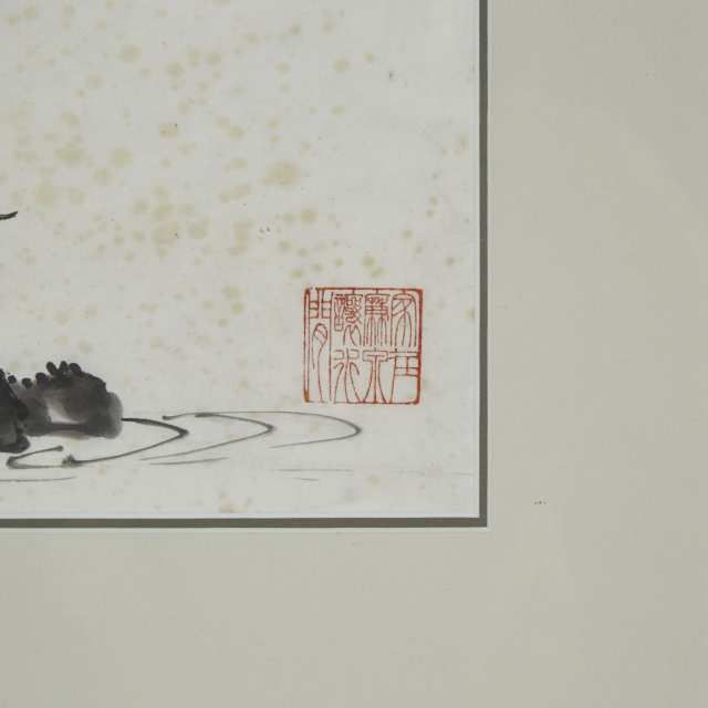 A Large Chinese Landscape Painting, Signed Ling Boyuan, Cyclically Dated to 1952