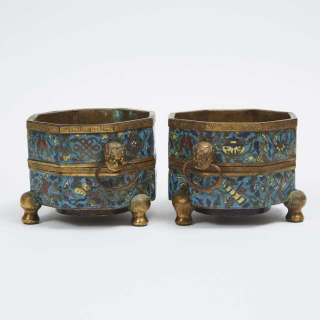 A Pair of Cloisonné 'Eight Buddhist Emblems' Octagonal Vessels, 18th Century, Qing Dynasty