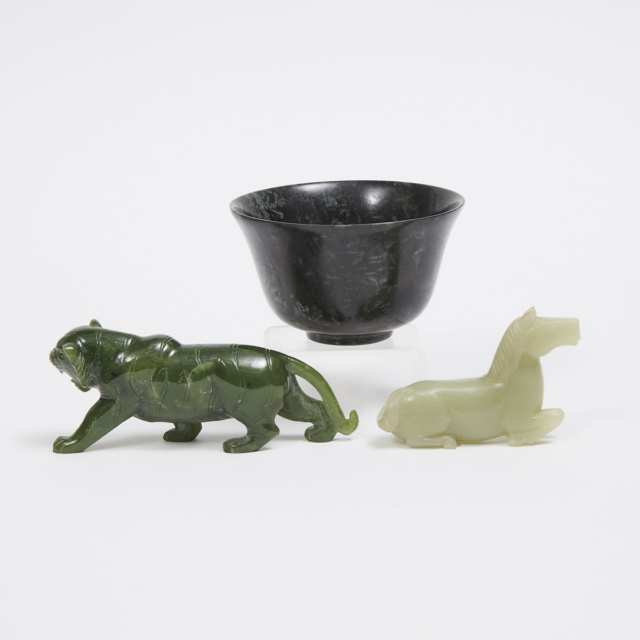 A Group of Three Jade and Hardstone Carvings