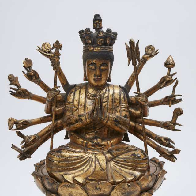 A Japanese Gilt Wood Figure of a Multi-Armed Bodhisattva, Senju Kannon, Late 19th/Early 20th Century
