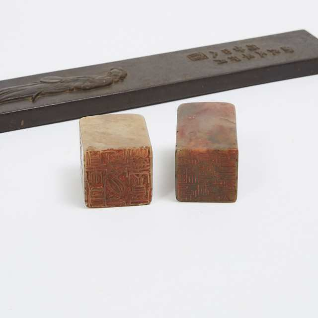 A Hardwood Carved Scroll Weight and Two Soapstone Seals
