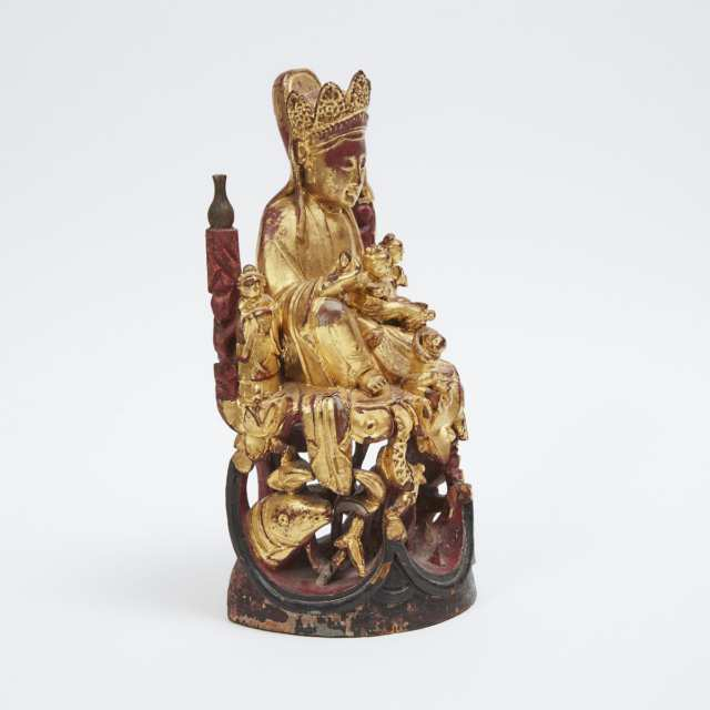 A Gilt Wood Carved Guanyin and Child, 19th Century