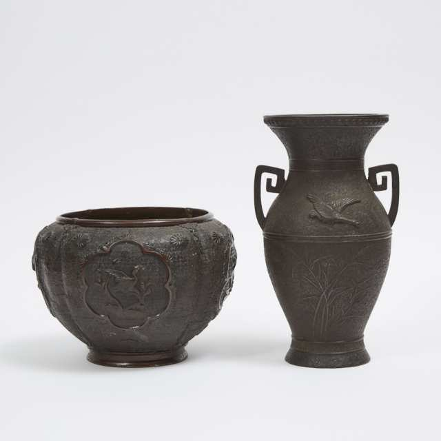 Two Japanese Bronze Cast Vessels, 19th/20th Century