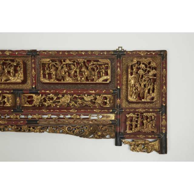 A Large Gilt Lacquer Headboard Carved with Figural Landscapes, 19th Century