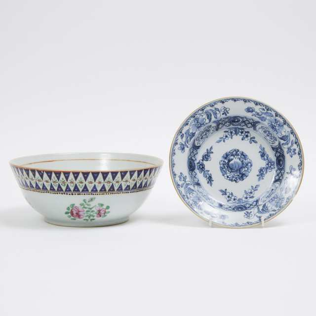 A Chinese Export Punch Bowl with Polychrome Enamel Decoration, together with a Chinese Export Blue and White Dish, 18th Century