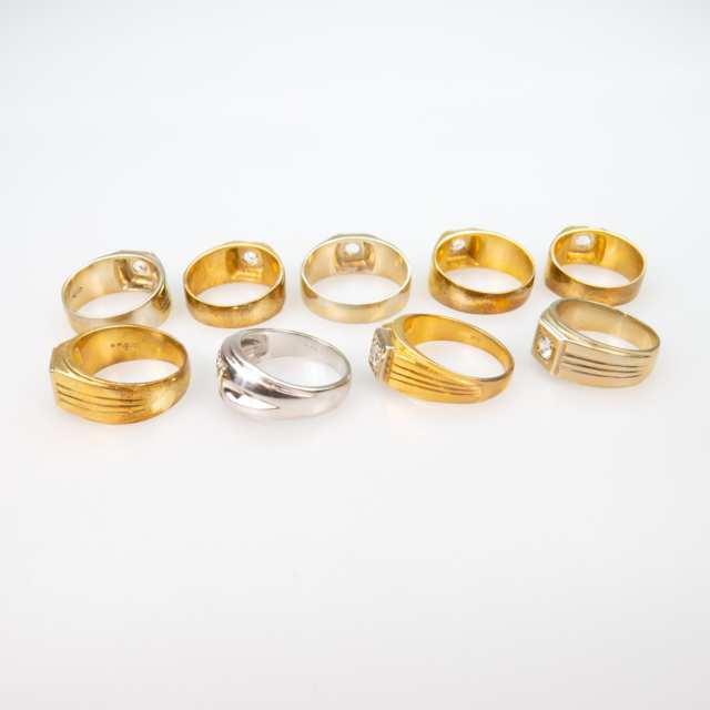 1 x 14k White Gold And 8 x 18k Yellow Gold Rings