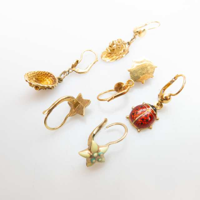 10 Various Pairs Of Yellow Gold Earrings