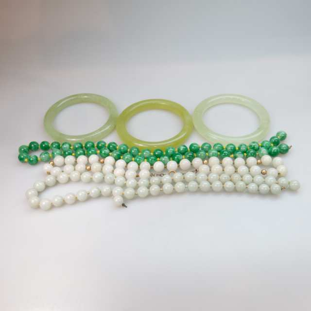 Quantity Of Jade Bangles And Bead Necklaces