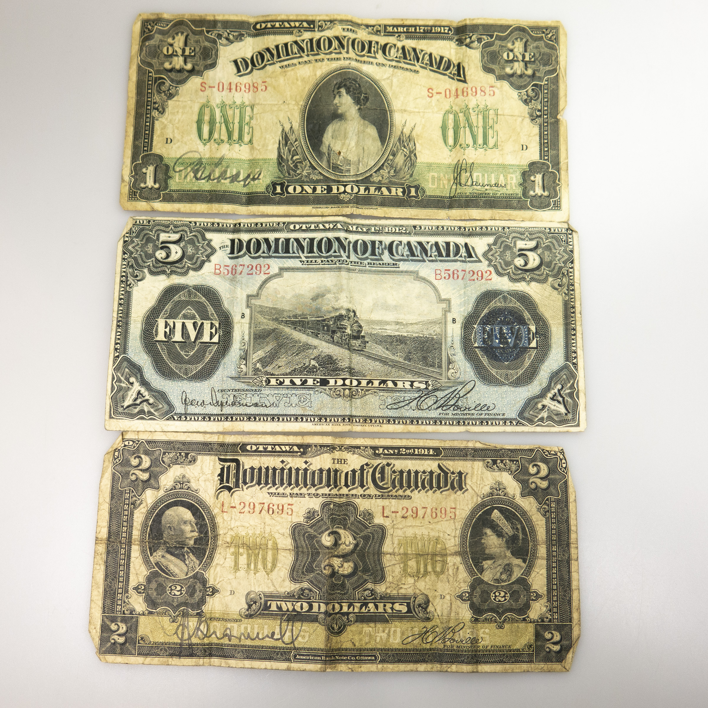 Three Dominion Of Canada Bank Notes