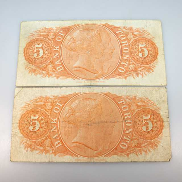 Two Bank Of Toronto 1937 $5 Banknotes