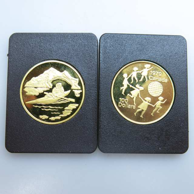 2 Canadian $100 Gold Coins, 1979 & 1980