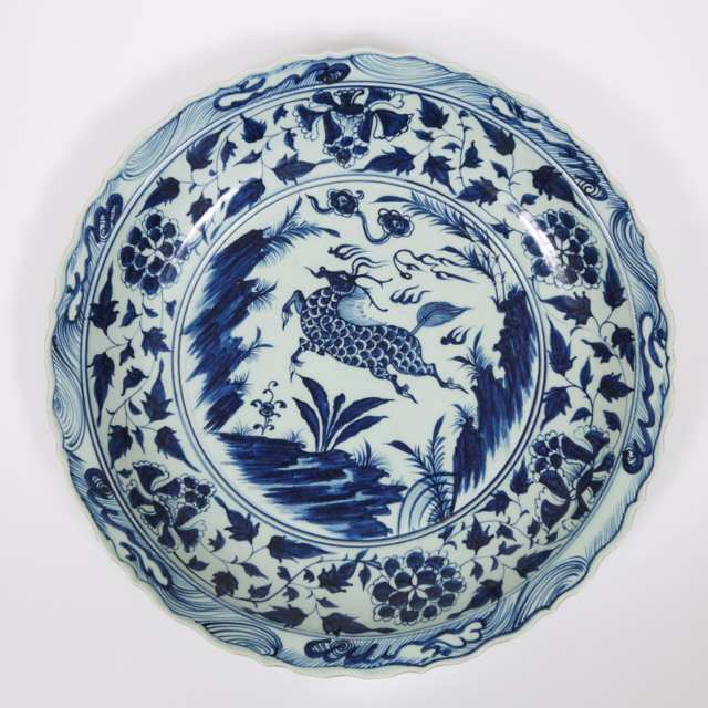 A Massive Blue and White 'Qilin' Charger, Xuande Mark, 19th/20th Century