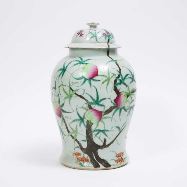 A Large Famille Rose 'Nine Peaches' Jar and Cover, Daoguang Mark and Possibly of the Period, 19th Century
