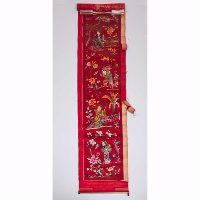 A Group of Three Embroidered Red Silk Panels, Late Qing Dynasty