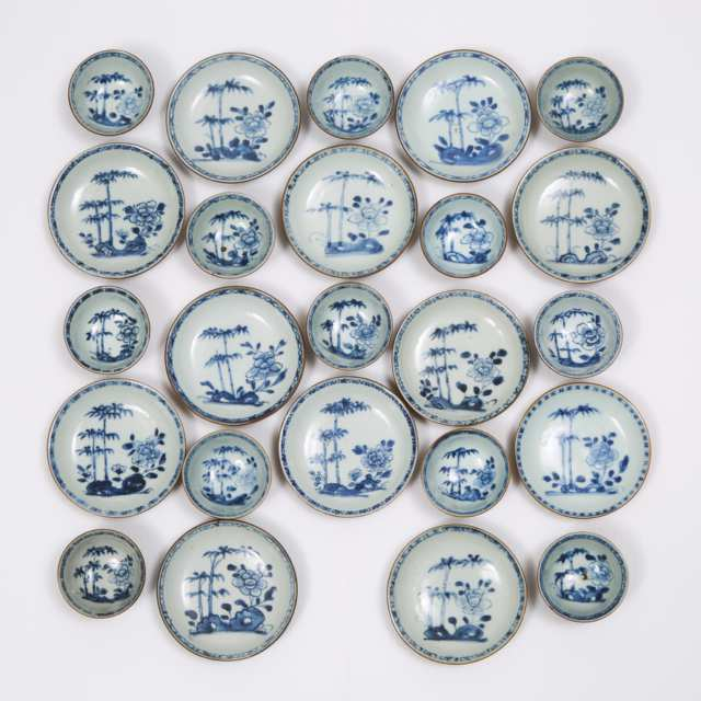 A Set of Twenty-Four 'Batavian Bamboo and Peony' Pattern Teabowls and Saucers from the Nanking Cargo, Qianlong Period, Circa 1750