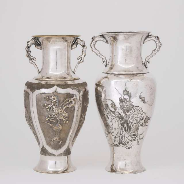 Two Chinese Export Silvered Vases, Late 19th/Early 20th Century
