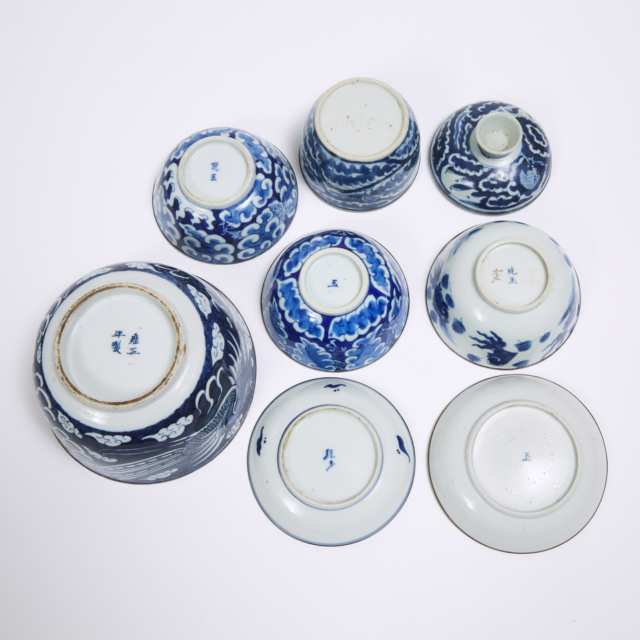 A Group of Seven Blue and White Porcelain Wares, Late Qing Dynasty