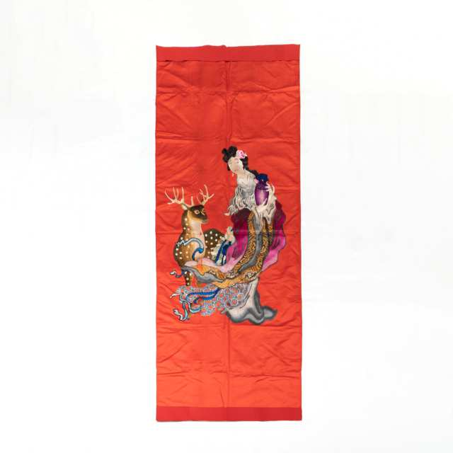 A Large Chinese Embroidered 'Magu and Deer' Red Silk Panel, Late Qing Dynasty