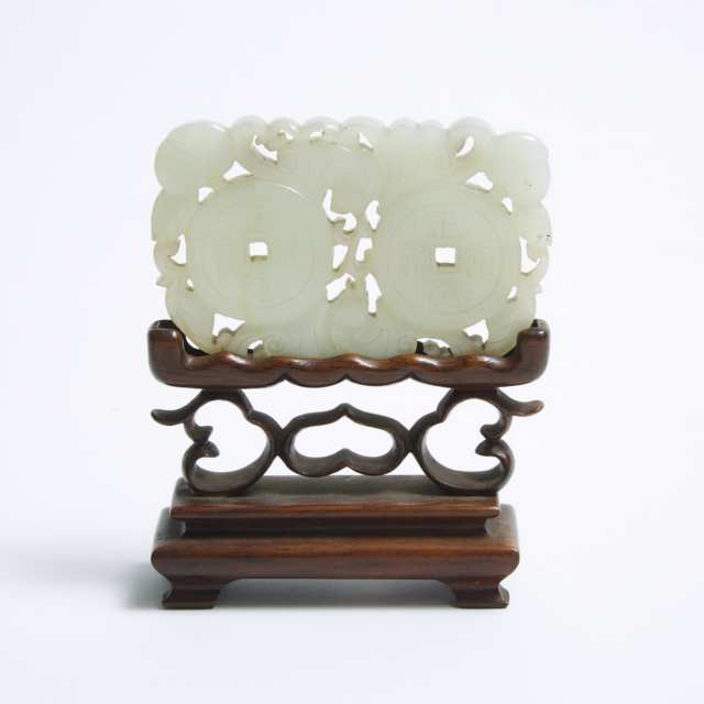 A Group of Three Pale Celadon Jade Carvings, Qing Dynasty