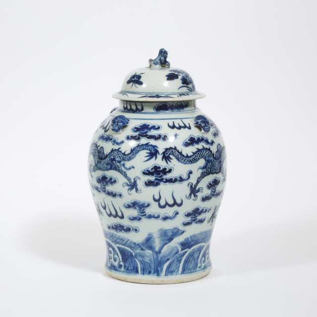 A Blue and White 'Dragon' Jar and Cover, Late Qing Dynasty