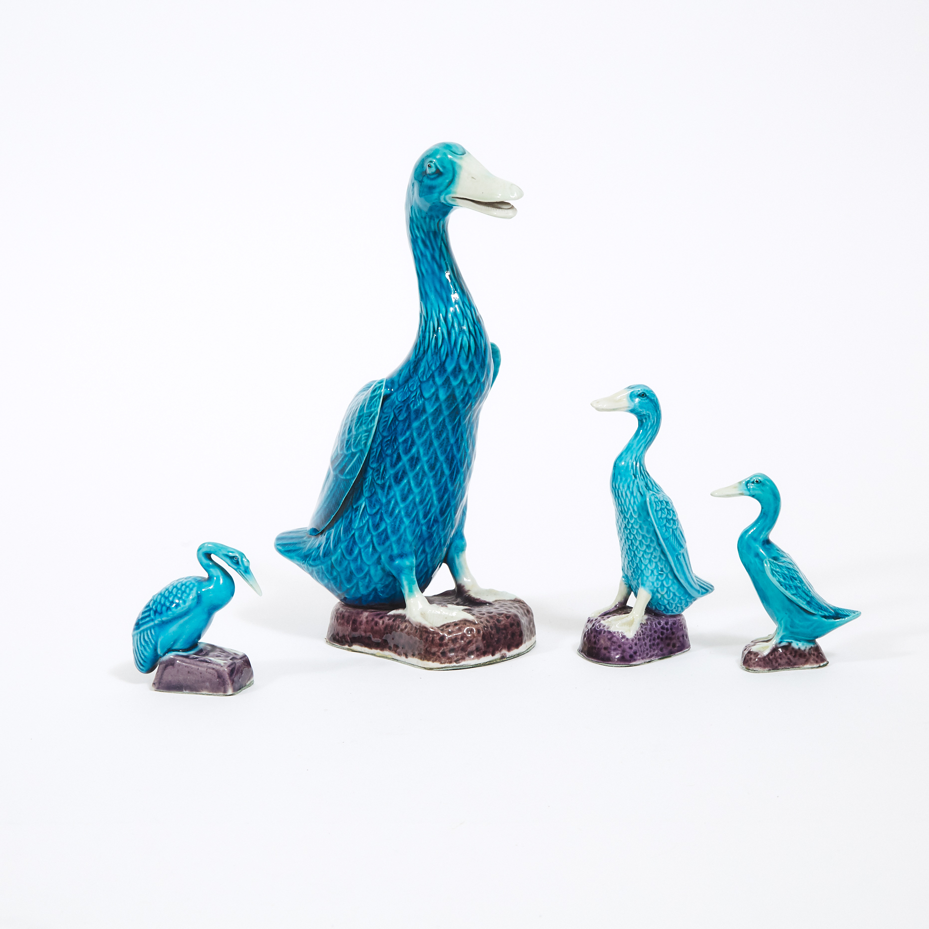 A Group of Four Turquoise Glazed Chinese Export Ducks, Late Qing Dynasty