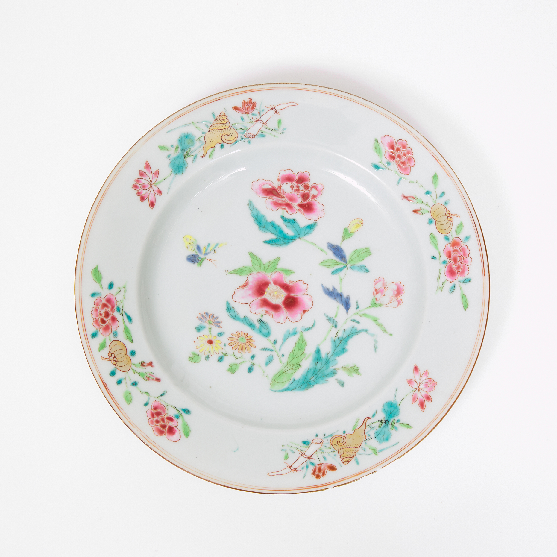 A Well-Painted Famille Rose Plate with Flowers, Yongzheng Period, 18th Century