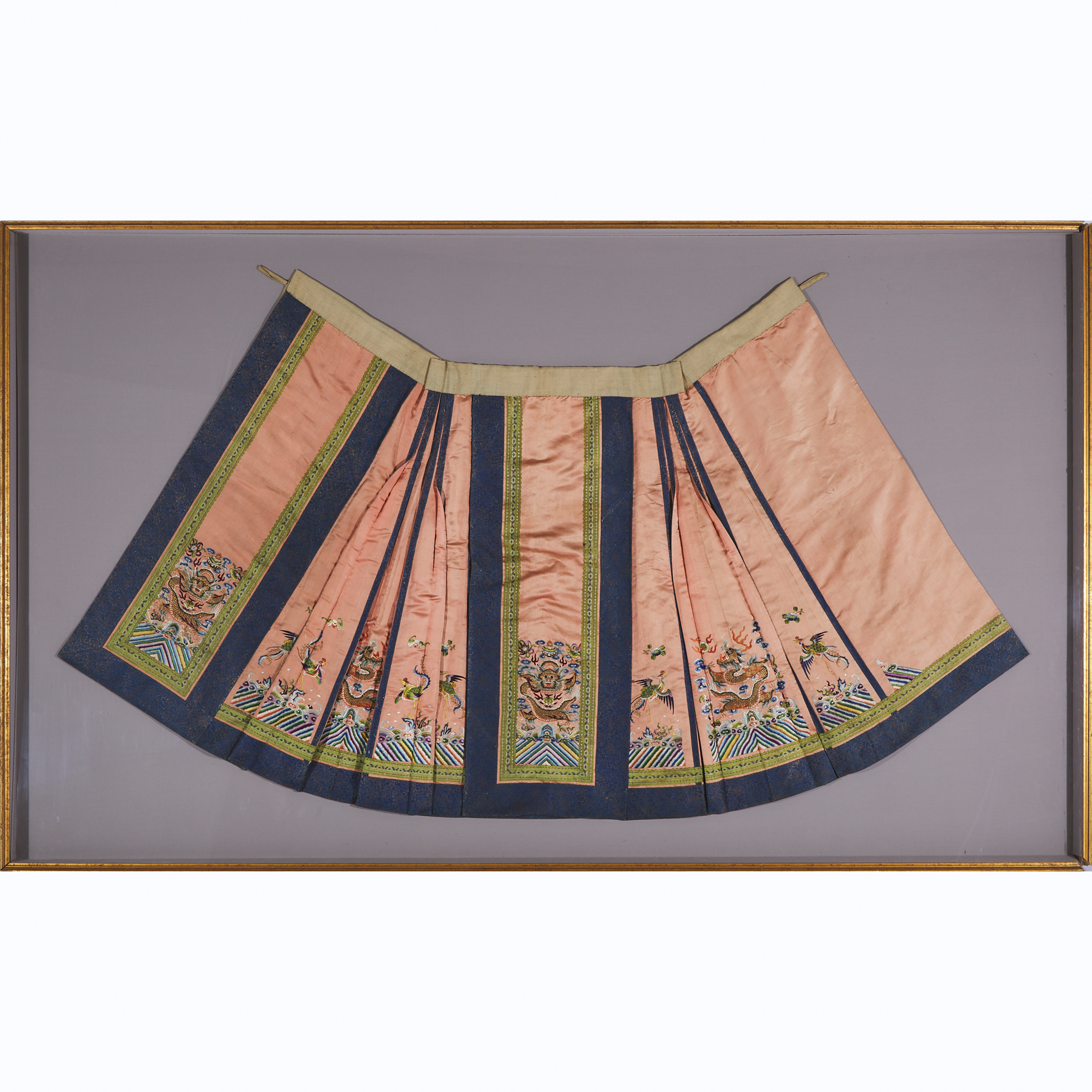 A Large Framed Chinese Silk Embroidered Skirt, Late Qing Dynasty