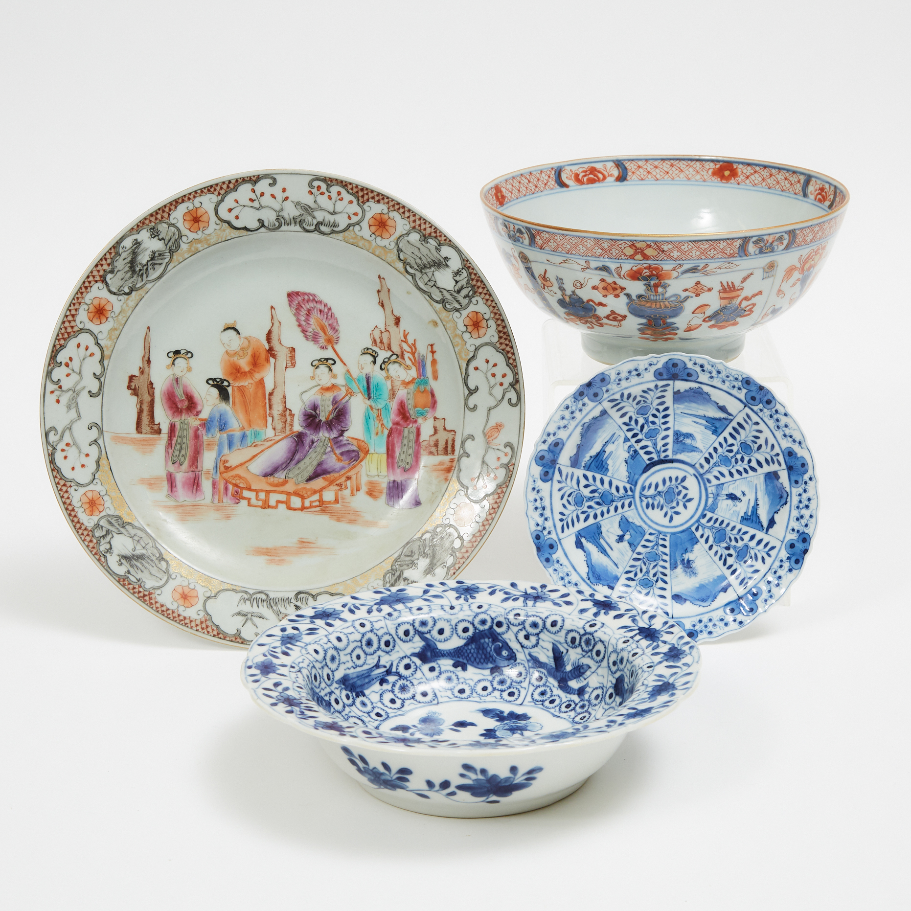A Group of Four Chinese Export Porcelain Wares, Qing Dynasty