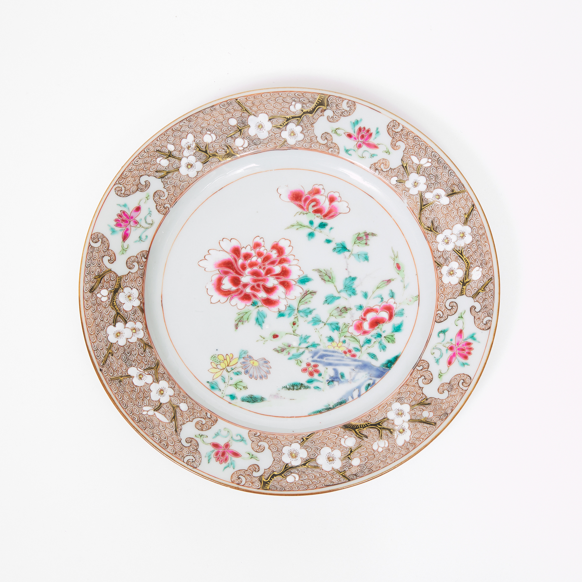 A Well-Painted Famille Rose Plate with Peonies, Qianlong Period, 18th Century