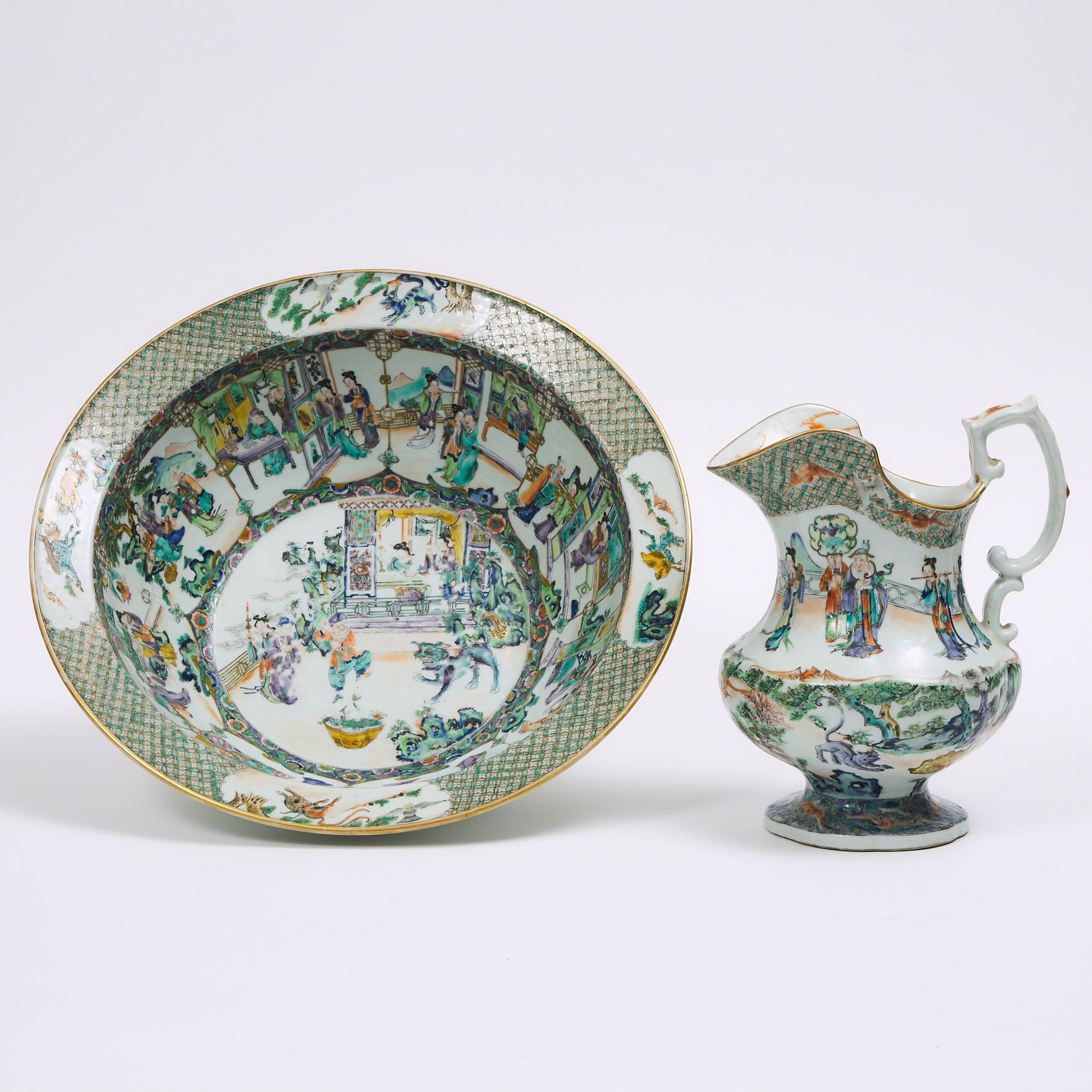 A Famille Verte Pitcher and Basin, 19th Century