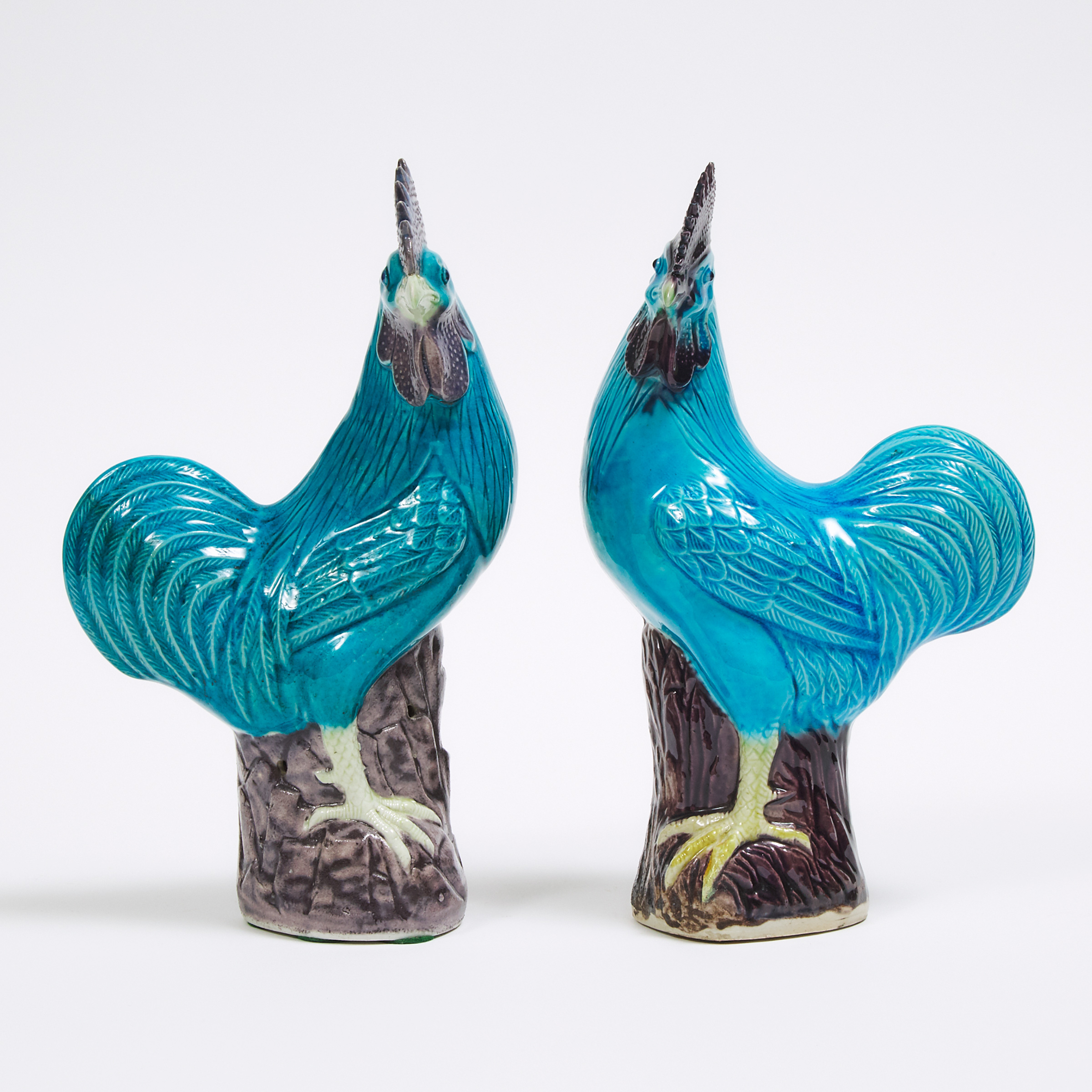 A Pair of Turquoise Glazed Porcelain Roosters, 19th Century or Later