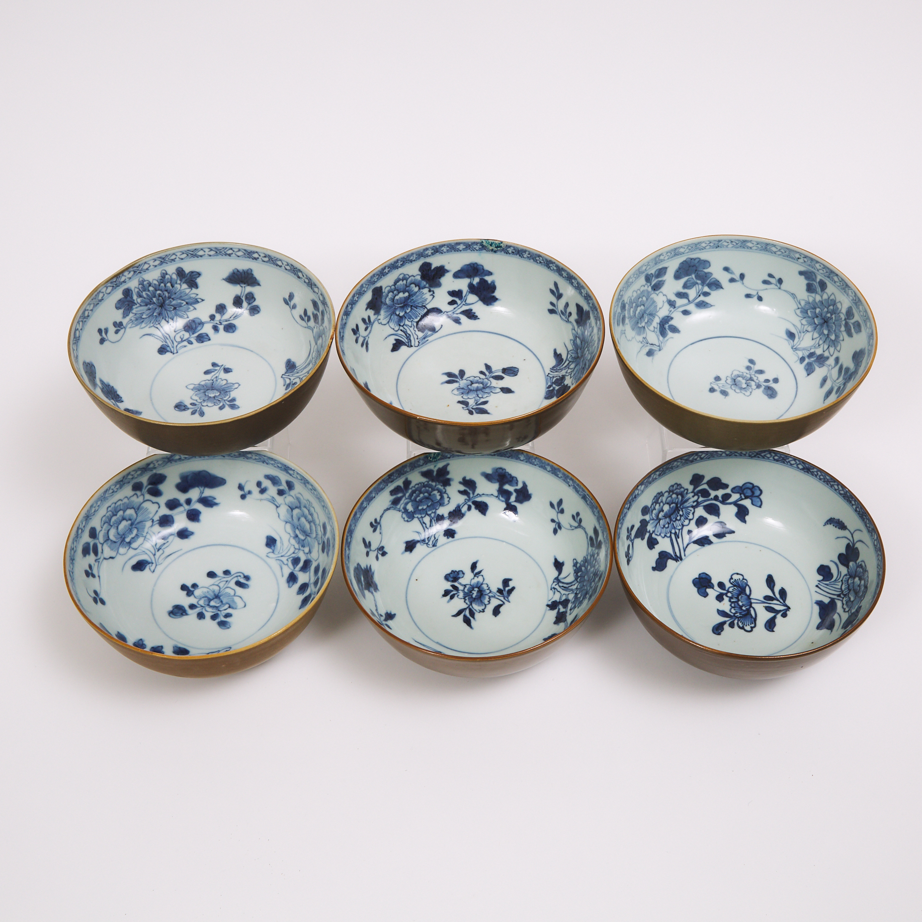 A Set of Six 'Batavian' Floral Bowls from the Nanking Cargo, Qianlong Period, Circa 1750